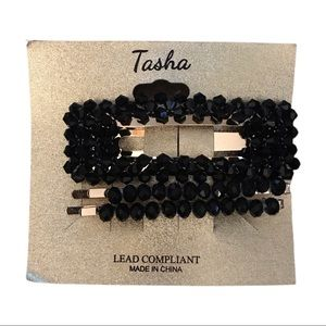 NEW TASHA BLACK BEADED HAIR CLIP AND PINS FANCY